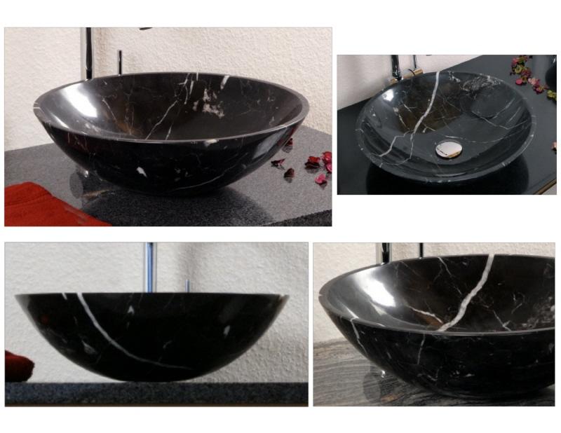 Marmorbecken schwarz wei alpgranit hochwertige for Hochwertige esstische