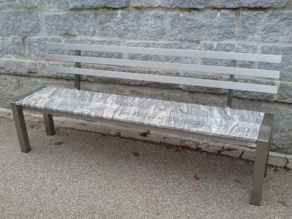 melina granit gartenbank mit r ckenlehne alpgranit. Black Bedroom Furniture Sets. Home Design Ideas